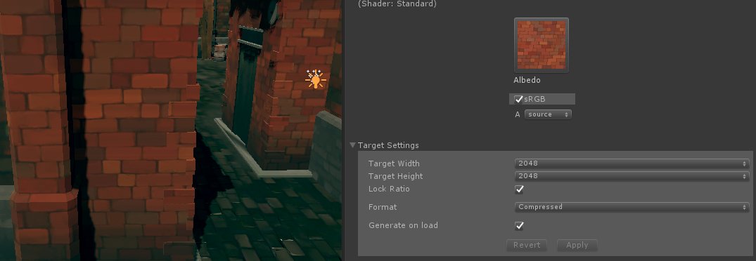 Target Size in Unity is editing texture