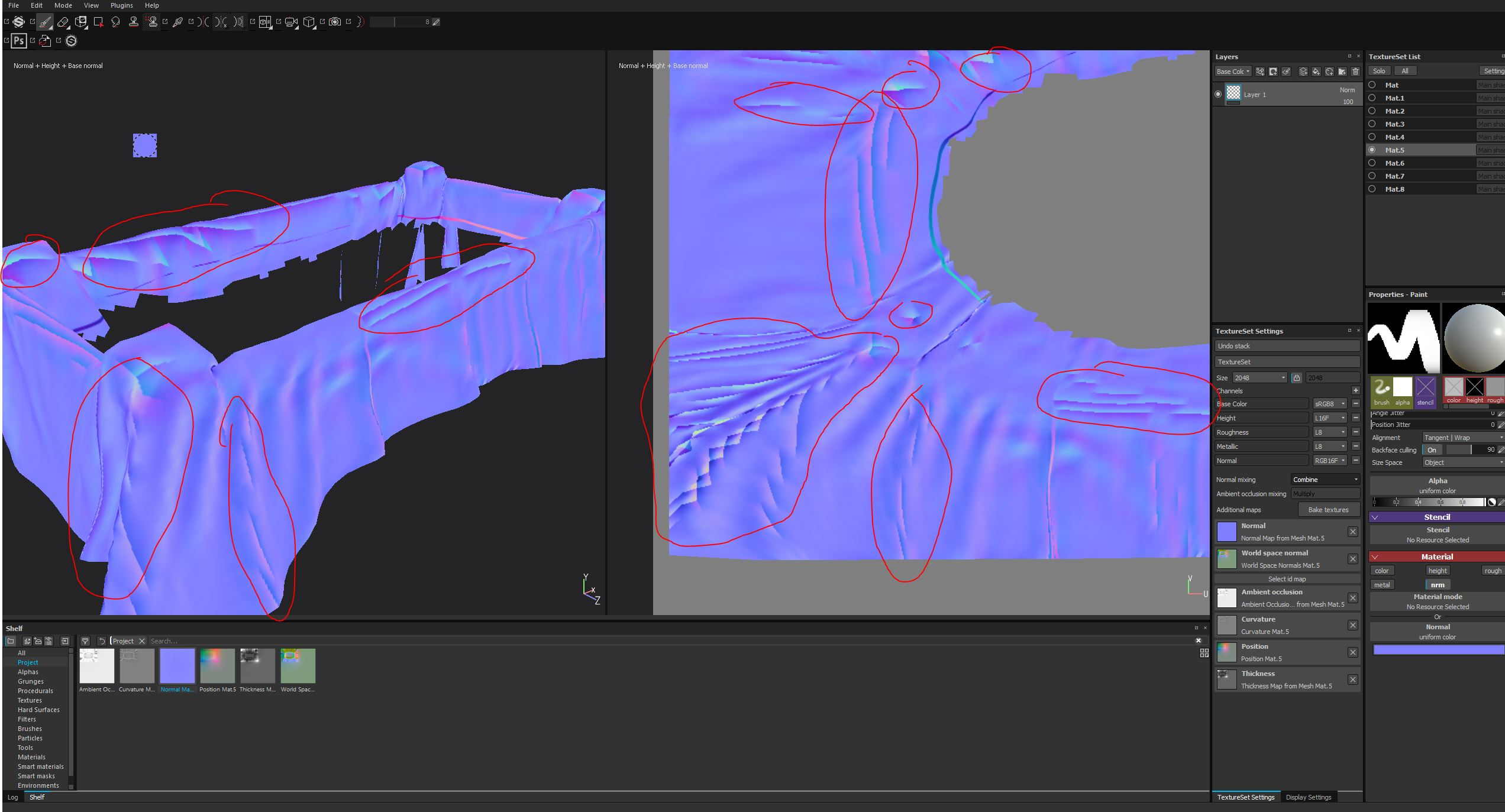 Painting on normal map to correct projection problems when